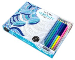Vive Le Color! Serenity (Adult Coloring Book and Pencils) Color Therapy Kit