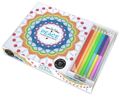 Vive Le Color! Peace (Adult Coloring Book and Pencils) Color Therapy Kit