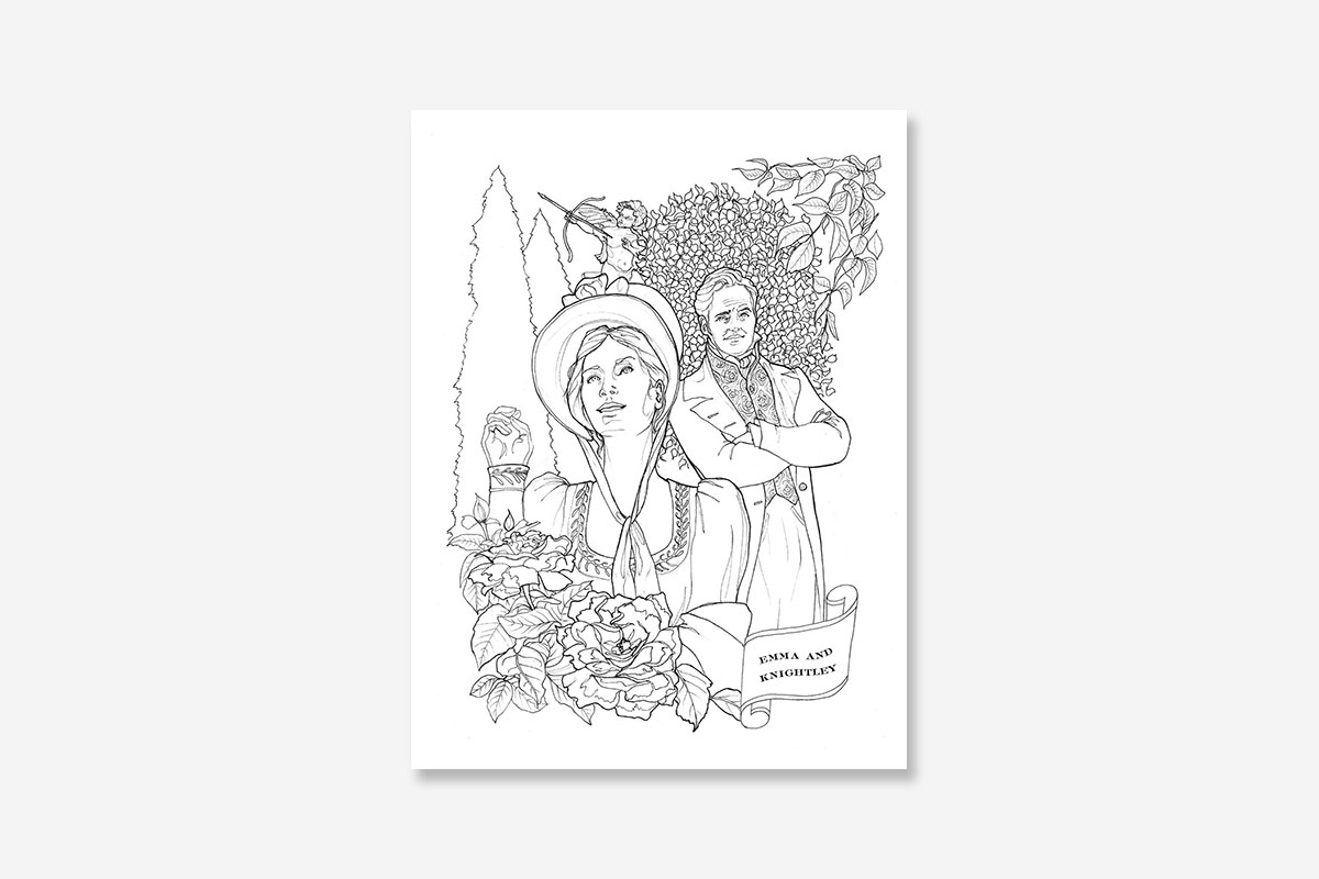 Classic coloring jane austen adult coloring book for Jane austen coloring pages