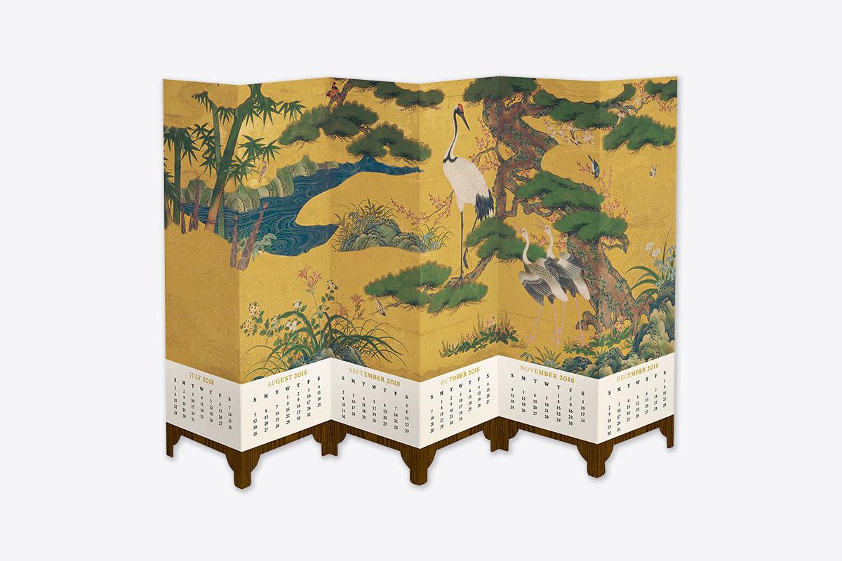 Birds And Flowers Folding Screen 2018 Desk Calendar Desk