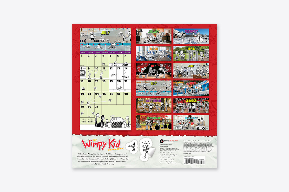 Kids Calendar With Activity Stickers : The wimpy kid calendar wall abrams
