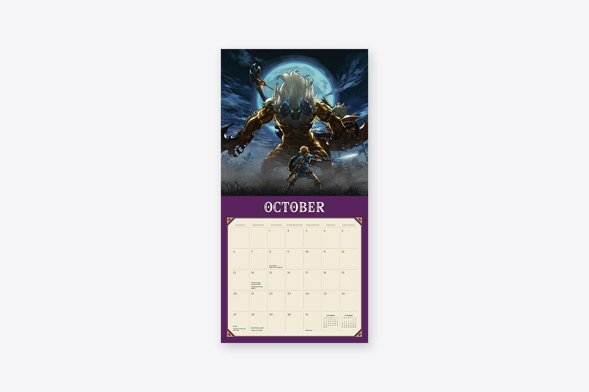 Legend Of Zelda Breath Of The Wild 2019 Wall Calendar
